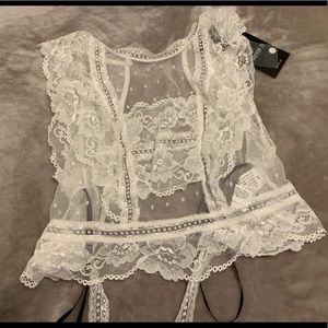 White Lace Sheet Crop Top NWT